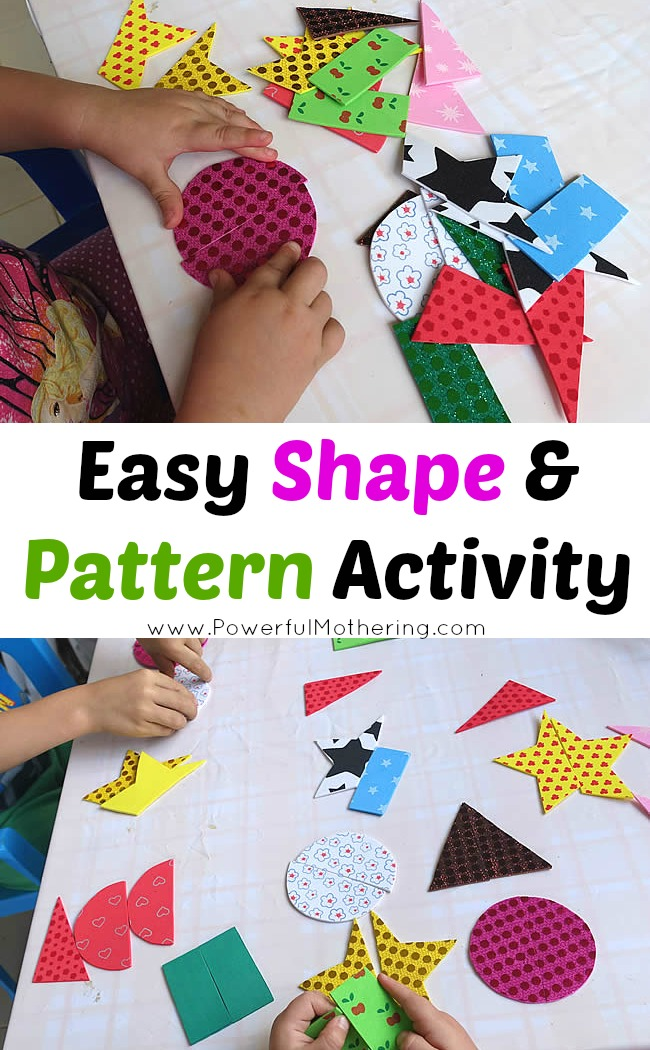 Easy Shape and Pattern Activity busy bag with PowerfulMothering