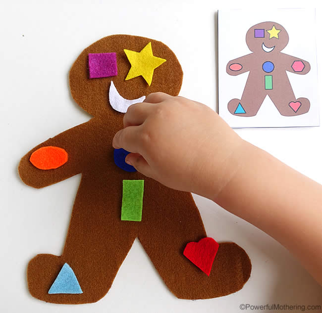make a shape gingerbreadman busy bag