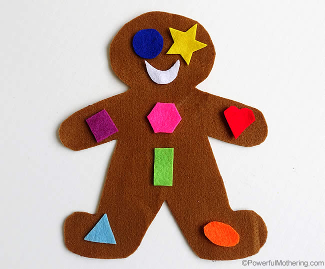 matching shapes on the gingerbread man