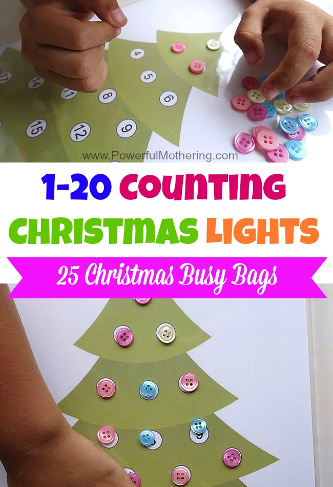 Counting Christmas Lights 1-20 Free Printable - Christmas Busy Bags