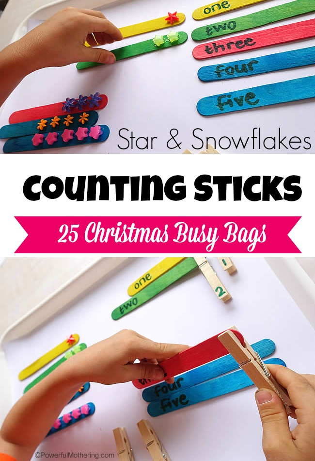 Counting Sticks - Christmas Busy Bags