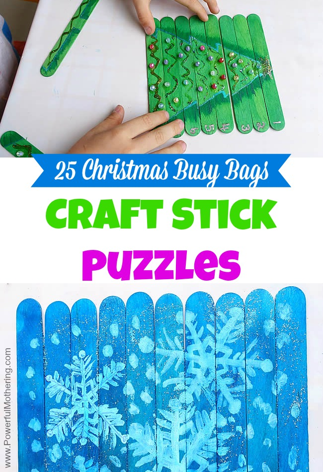 Craft Stick Puzzles - Christmas Busy Bags