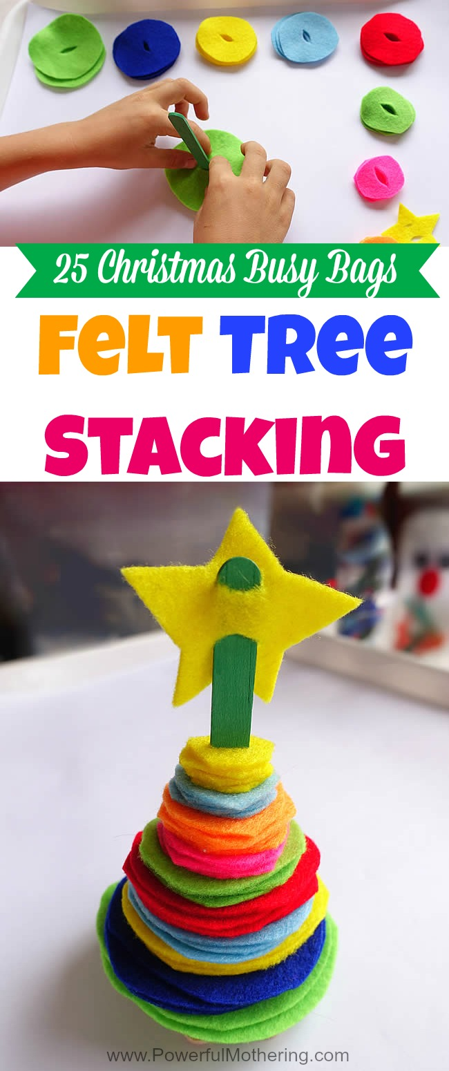 Felt Tree Stacking - Christmas Busy Bags