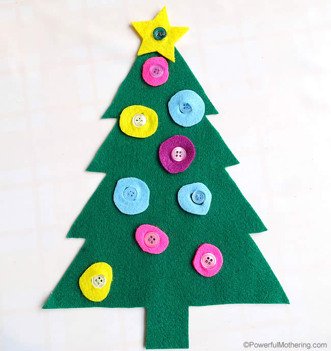Fine Motor Button Tree a great Christmas Busy Bags