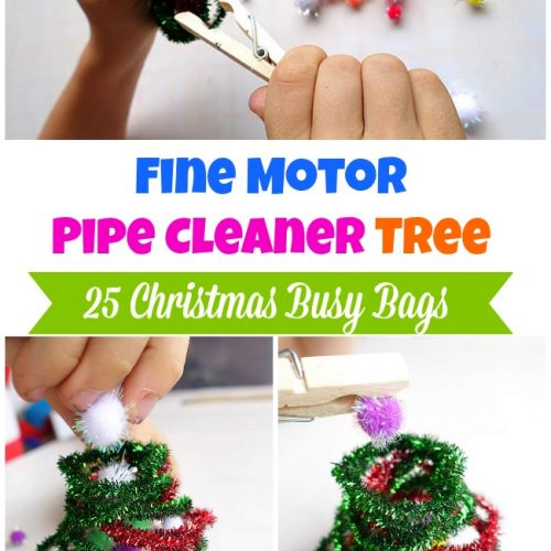 Fine Motor Pipe Cleaner Tree - Christmas Busy Bags