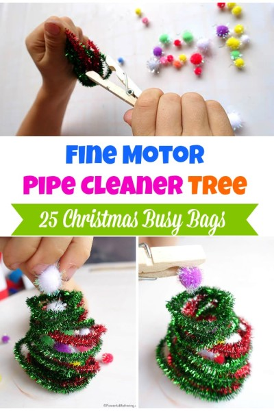 Fine Motor Pipe Cleaner Tree – Christmas Busy Bags