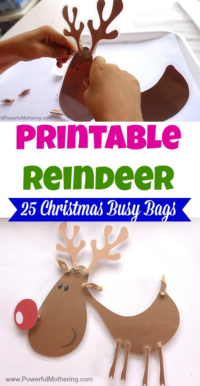 Printable Reindeer  - Christmas Busy Bags great for fine motor skills