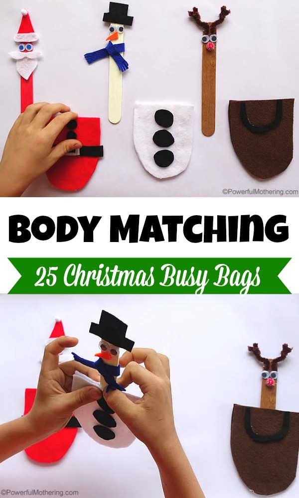Santa, Reindeer and Snowman Body Matching - Christmas Busy Bags