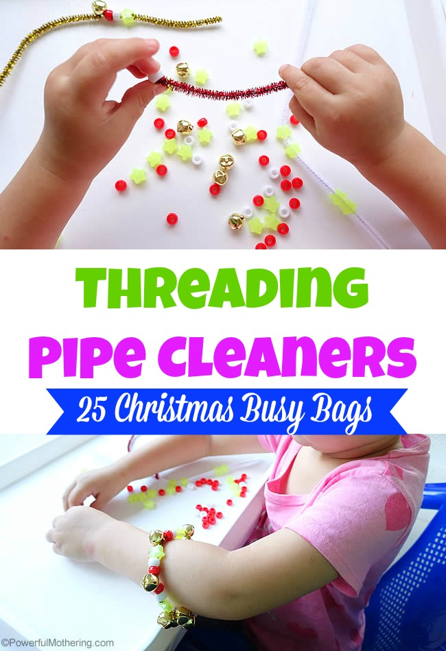 Threading Pipe Cleaners - Christmas Busy Bags