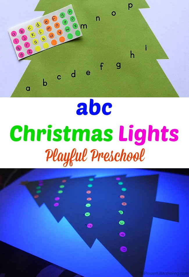 abc Christmas Lights with glowing lights