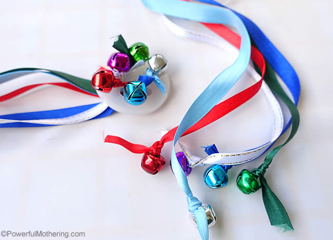 jingle bells on ribbons