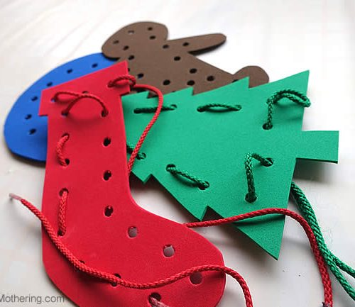 Festive Lacing Shapes - Christmas Busy Bags