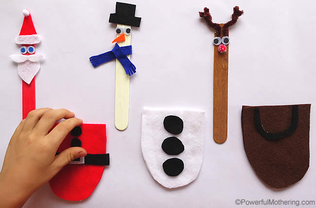 large craft sticks santa snowman and reindeer