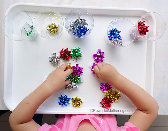 playing and sorting with bows
