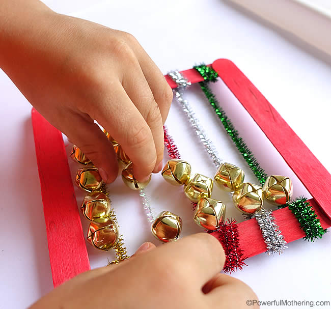slide the jingle bells from one side to the other and count