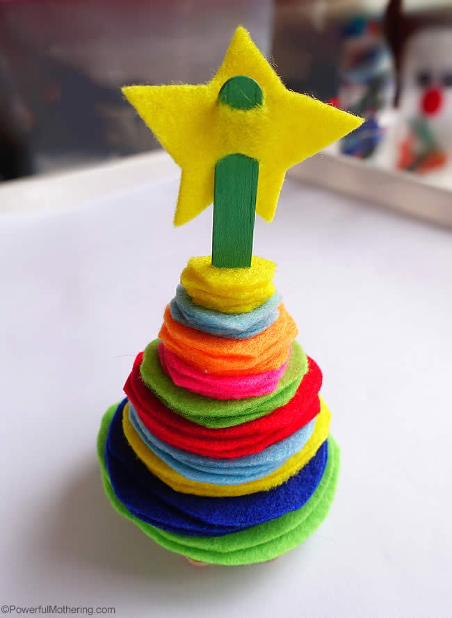 stacking tree made from felt