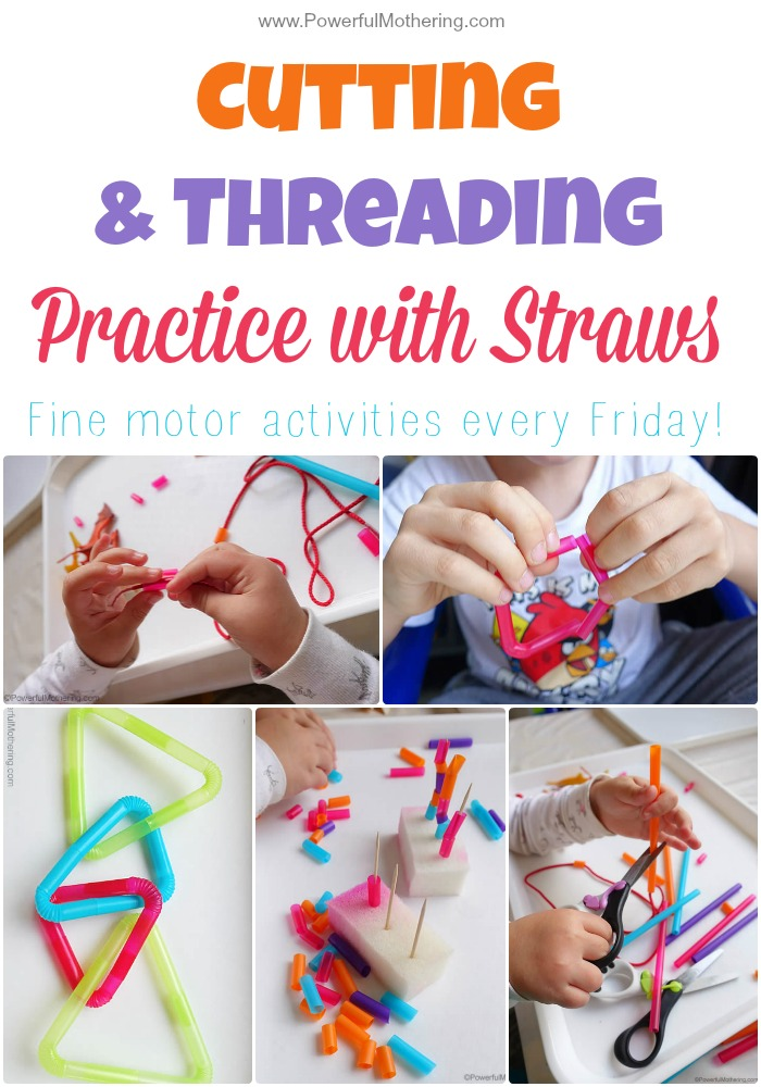 Cutting & Threading Practice with Straws fine motor activities every friday