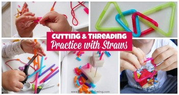 Cutting Threading Practice with Straws fine motor skills
