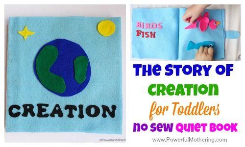 The Story of Creation in a Quiet Book (no sew) for toddlers