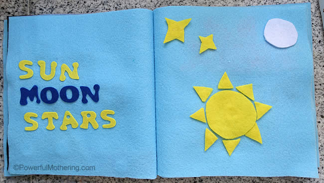 creation quiet book sun moon stars
