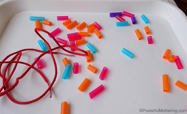 cut straws for threading fine motor skills