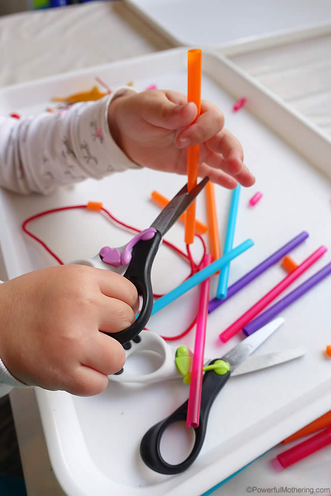 cutting straws for fine motor skills