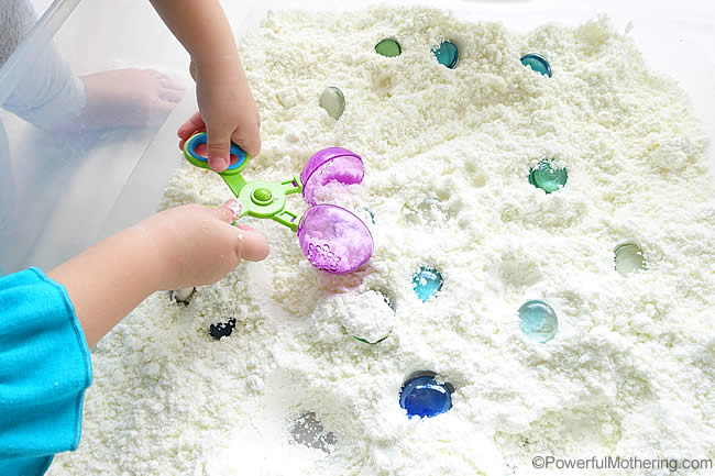fine motor skills with sensory snow dough recipe