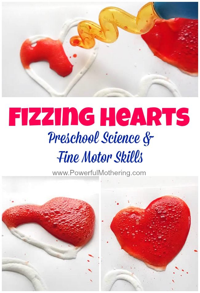 fizzing hearts preschool science and fine motor idea