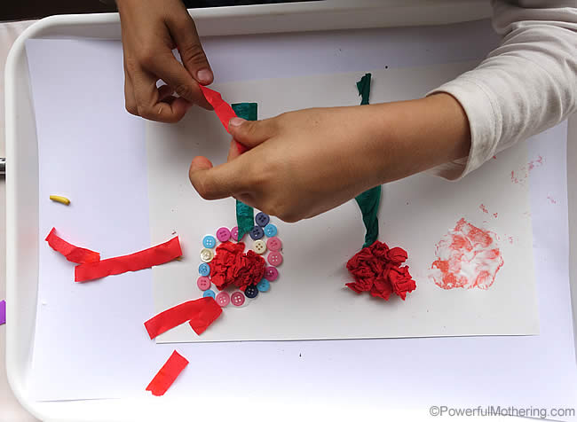 free form flower making fine motor