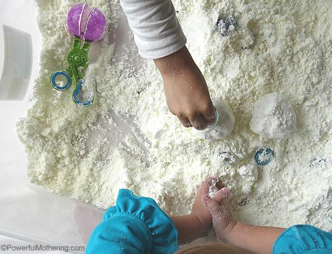 snow dough sensory dough snowballs