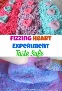Fizzing Heart Cloud Dough Experiment (Taste Safe)