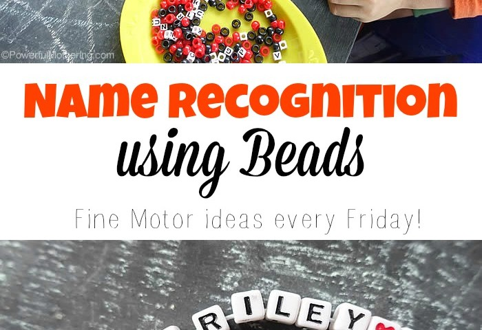 Name Recognition using Beads fine motor skills