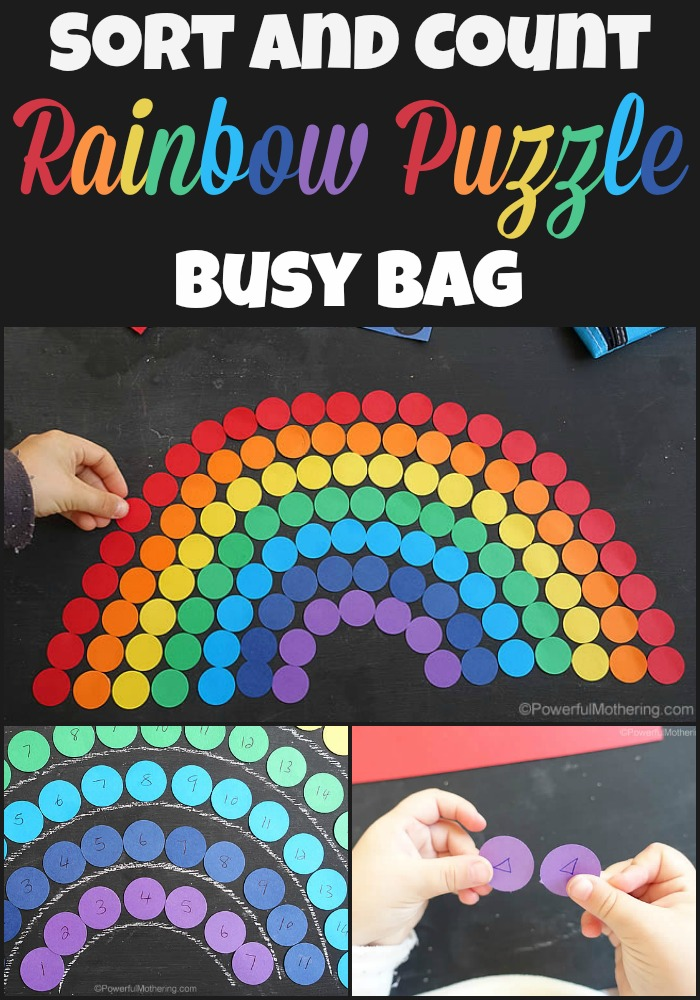 Sort and Count Rainbow Puzzle Busy Bag from Powerfulmothering.com