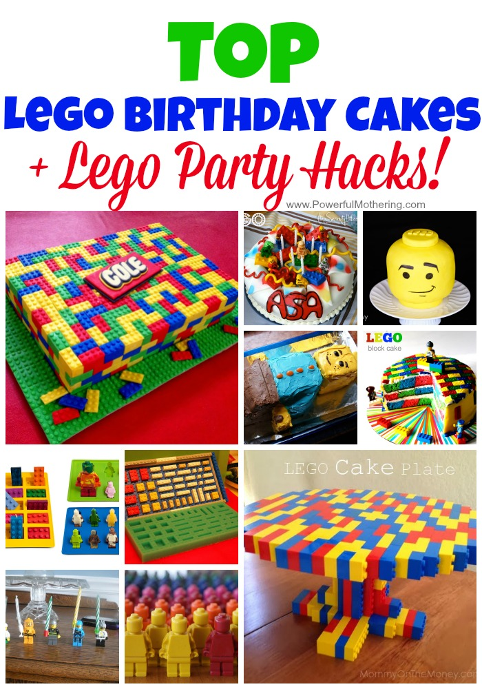 Top Lego Birthday Cakes for Kids and Lego Party Hacks! Love the idea of a simple and easy lego birthday cake!
