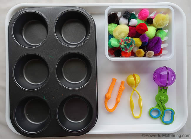 fine motor tray set up with tools