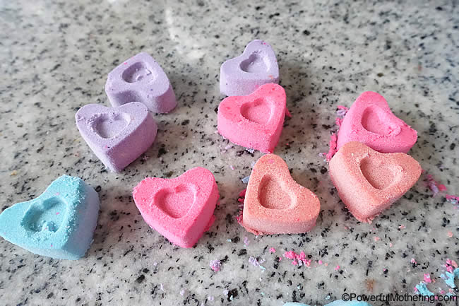fizzing cloud dough hearts