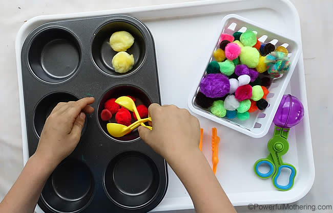 pom poms and fine motor skills