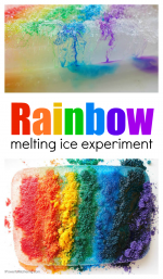 Rainbow Melting Ice Experiment for Preschool