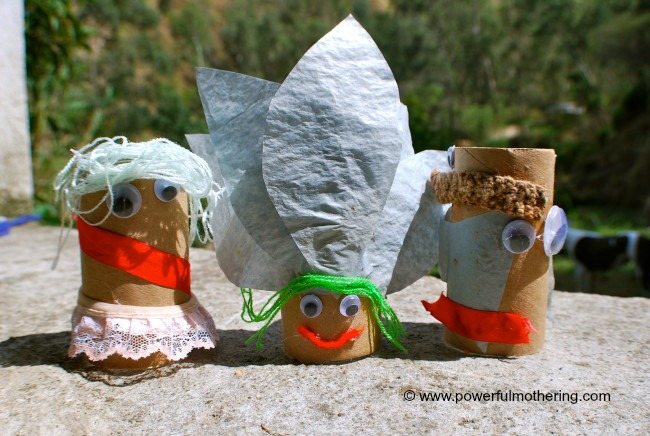 Recycled Toilet paper tube dolls