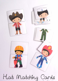 hat matching cards free printable