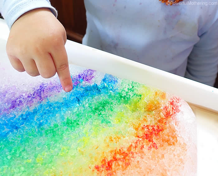 investigating rainbows on ice - melting ice experiment