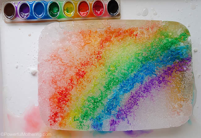 painting ice with salt melting ice experiment