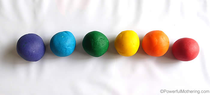 rainbow playdough balls
