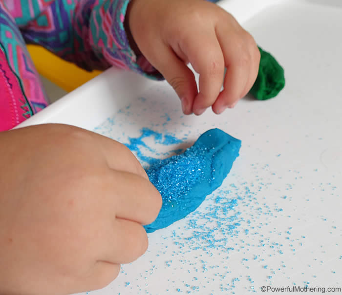sprinkling blue glitter