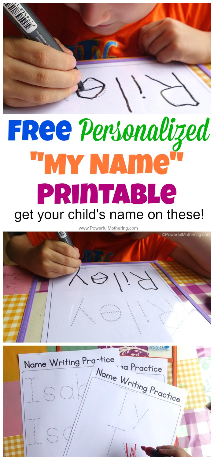 "Free Personalized ""My Name"" Printable by Powerful Mothering."