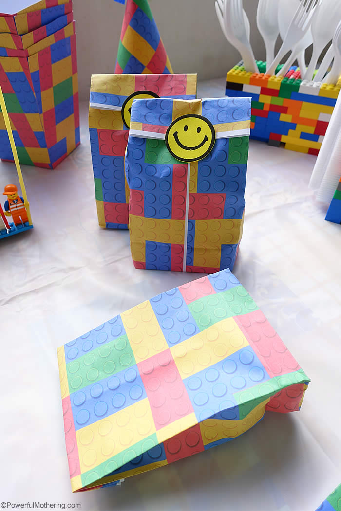 lego birthday party favor bag diy