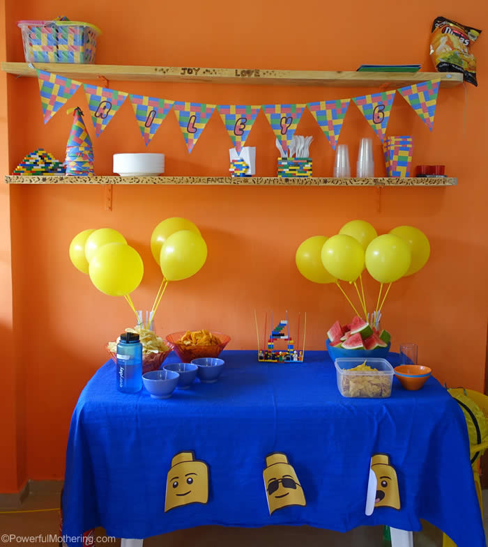 lego birthday party setup