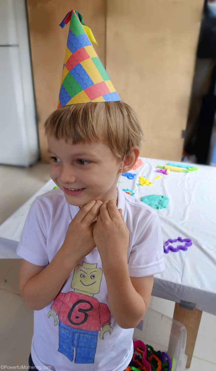 lego party hat and shirt