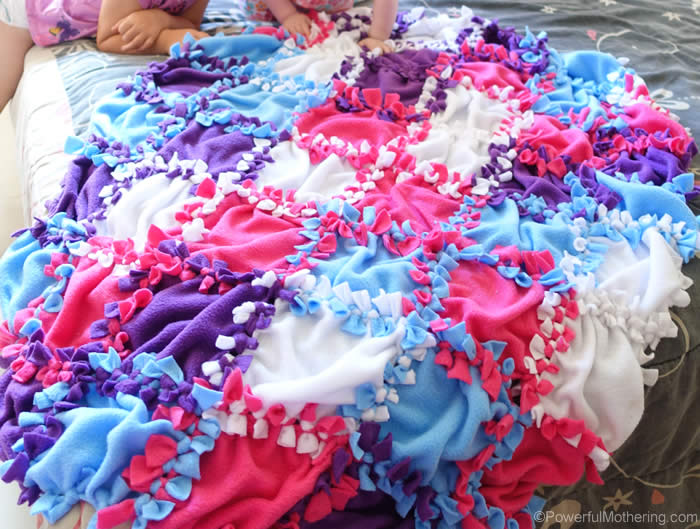 Patchwork No Sew Fleece Blanket Tutorial Inspiration Cute Fleece Throw Blankets