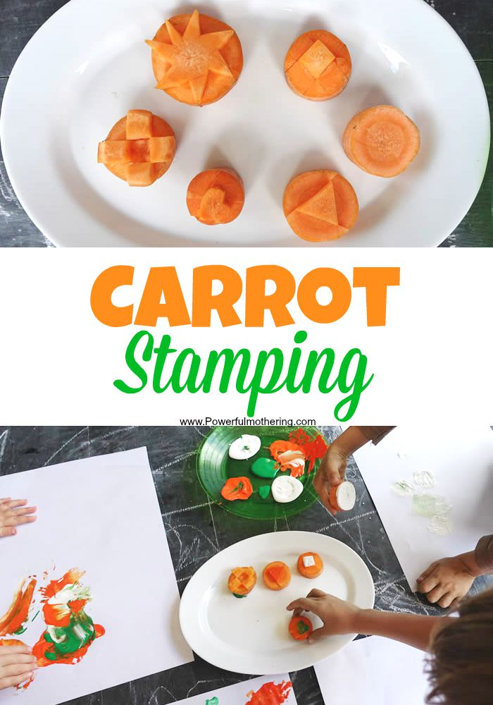 carrot stamping with paint